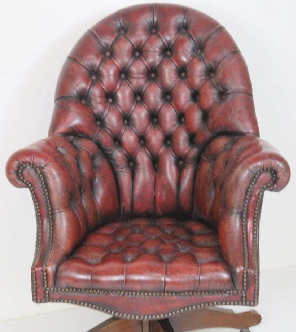 RED LEATHER TUFTED OFFICE CHAIR - 3