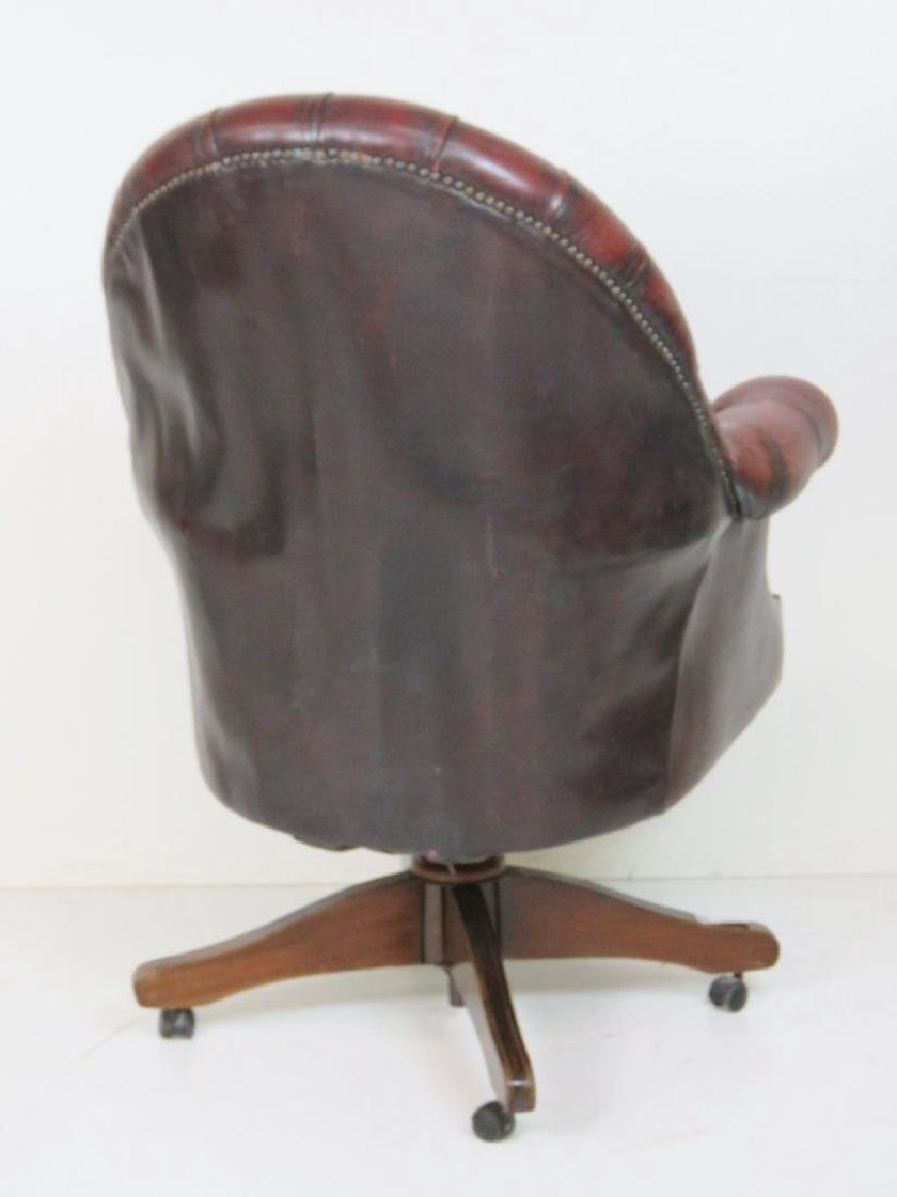 RED LEATHER TUFTED OFFICE CHAIR - 5