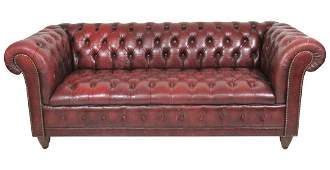 ENGLISH STYLE RED TUFTED LEATHER CHESTERFIELD SOFA