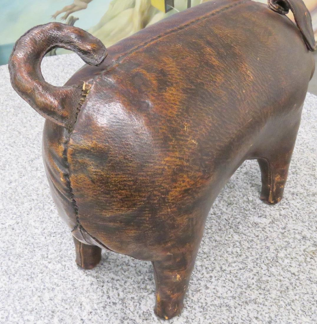 ABERCROMBIE & FITCH LEATHER PIG FOOTSTOOL - 4
