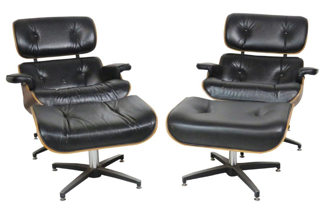 Pair CHARLTON COMPANY TUFTED UPHOLSTERED LOUNGE CHAIRS