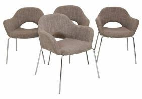 4 ARNE JACOBSEN STYLE CHROME & UPHOLSTERED SIDE CHAIRS