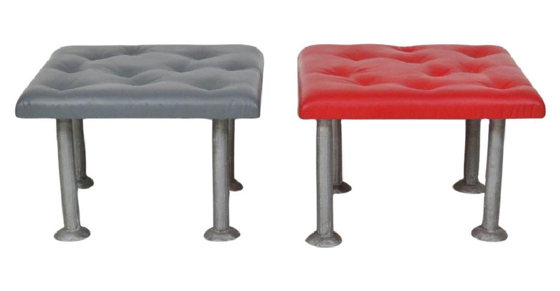 COMPANION Pair TUFTED METAL LEG FOOT STOOLS