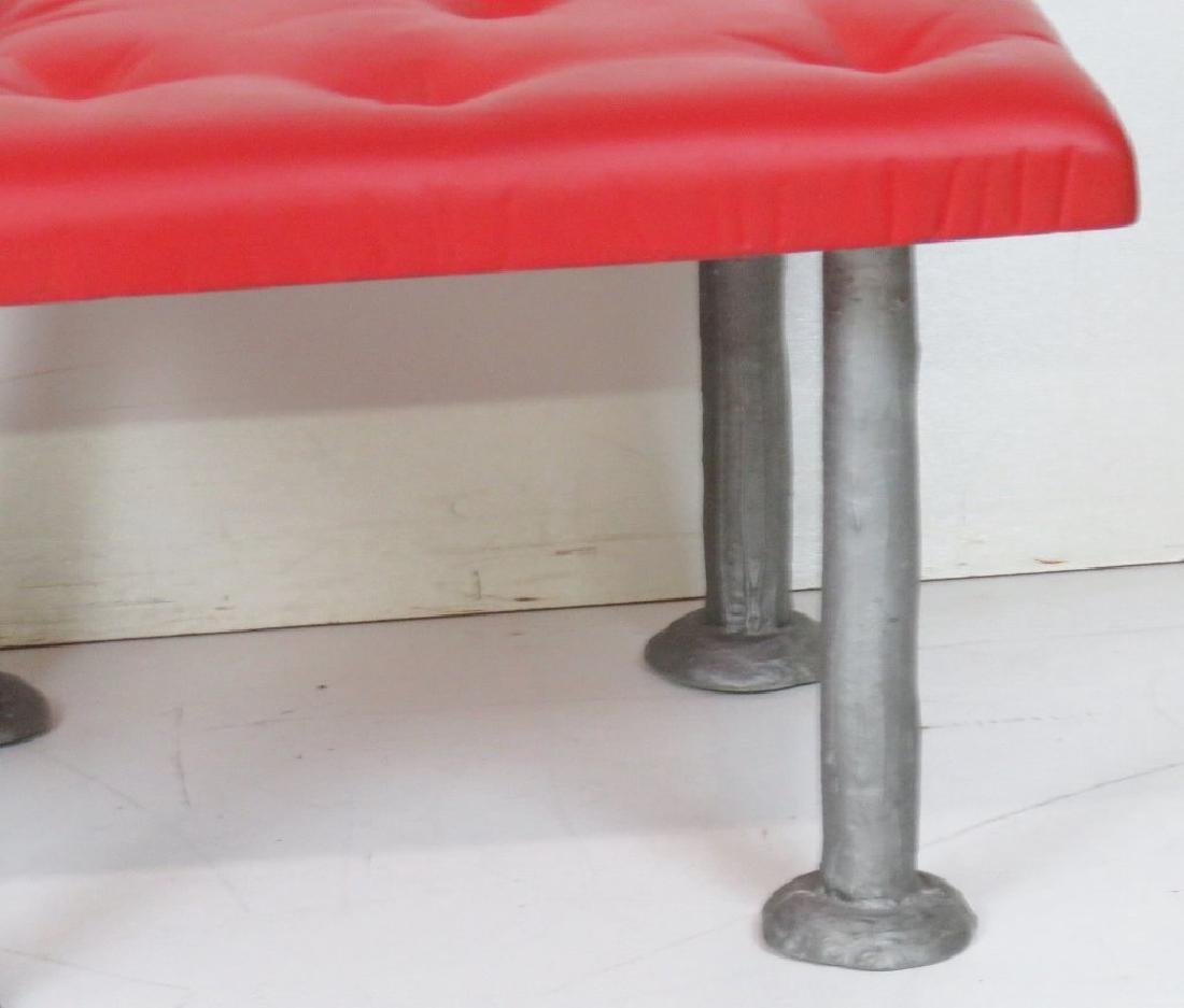 COMPANION Pair TUFTED METAL LEG FOOT STOOLS - 2