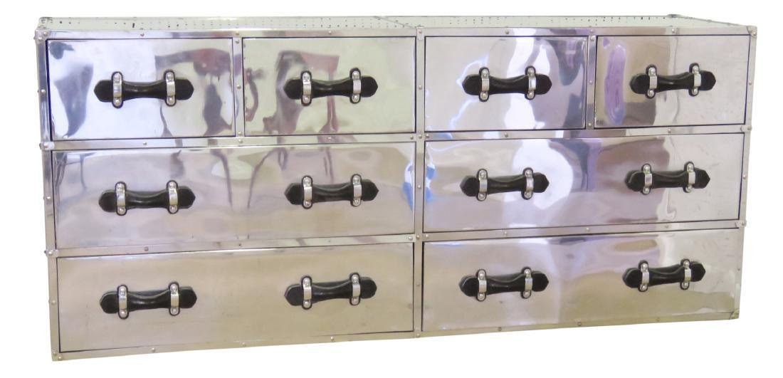 RESTORATION HARDWARE STYLE CHROME CAMPAIGN CHEST