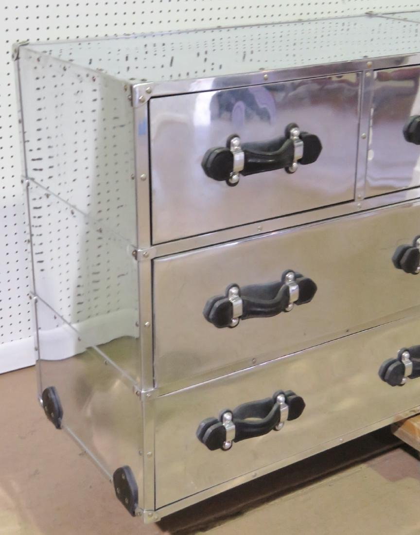 RESTORATION HARDWARE STYLE CHROME CAMPAIGN CHEST - 2