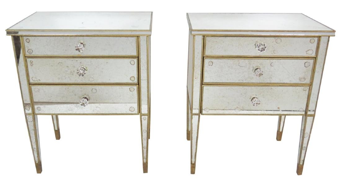 Pair HOLLYWOOD REGENCY STYLE MIRRORED STANDS