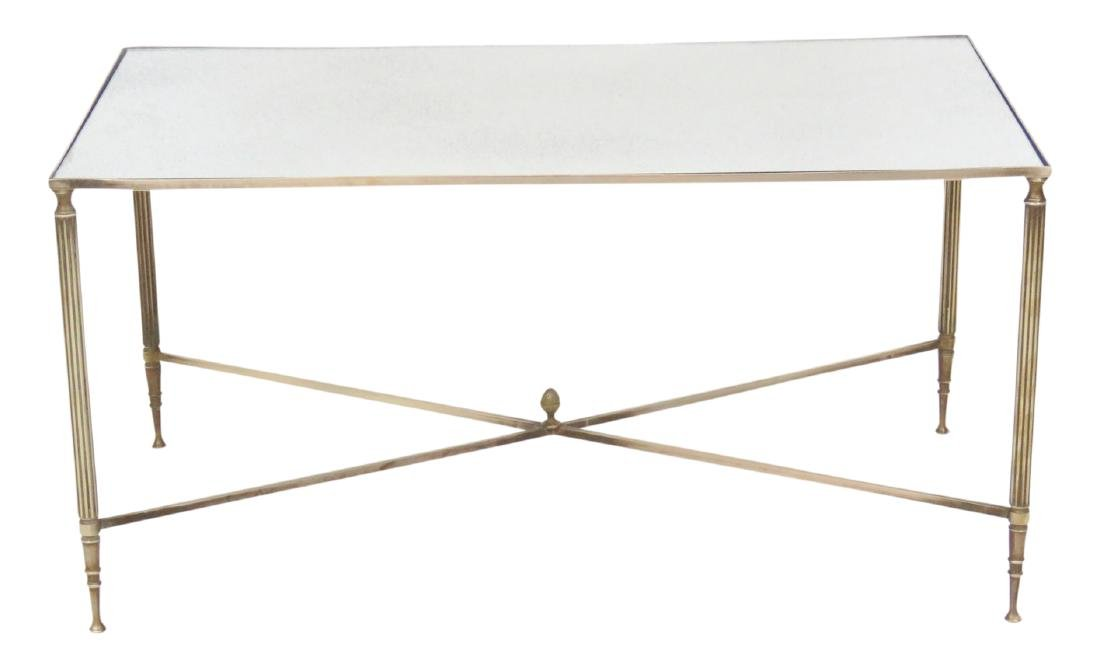 DIRECTOIRE STYLE MIRRORTOP BRASS COFFEE TABLE