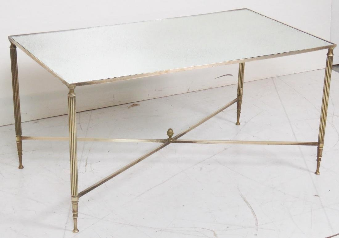 DIRECTOIRE STYLE MIRRORTOP BRASS COFFEE TABLE - 2
