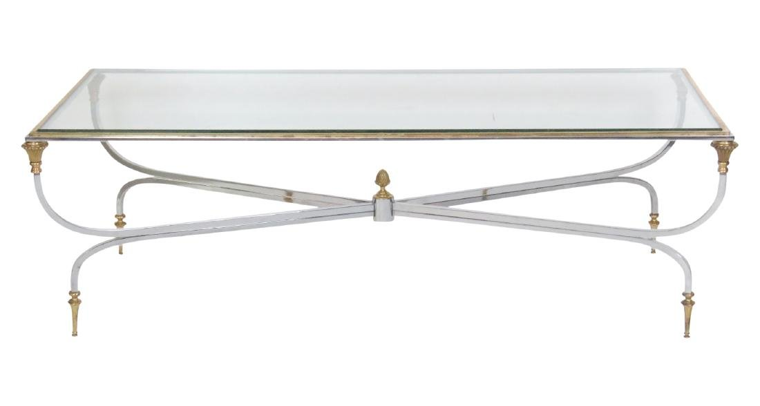 JANSEN STYLE CHROME & BRASS GLASSTOP COFFEE TABLE