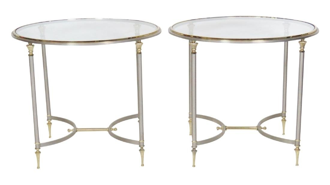 Pair JANSEN STYLE CHROME & BRASS GLASSTOP SIDE TABLES