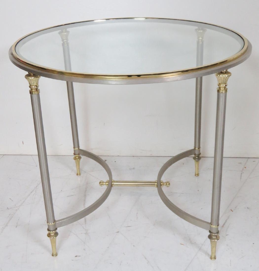 Pair JANSEN STYLE CHROME & BRASS GLASSTOP SIDE TABLES - 2