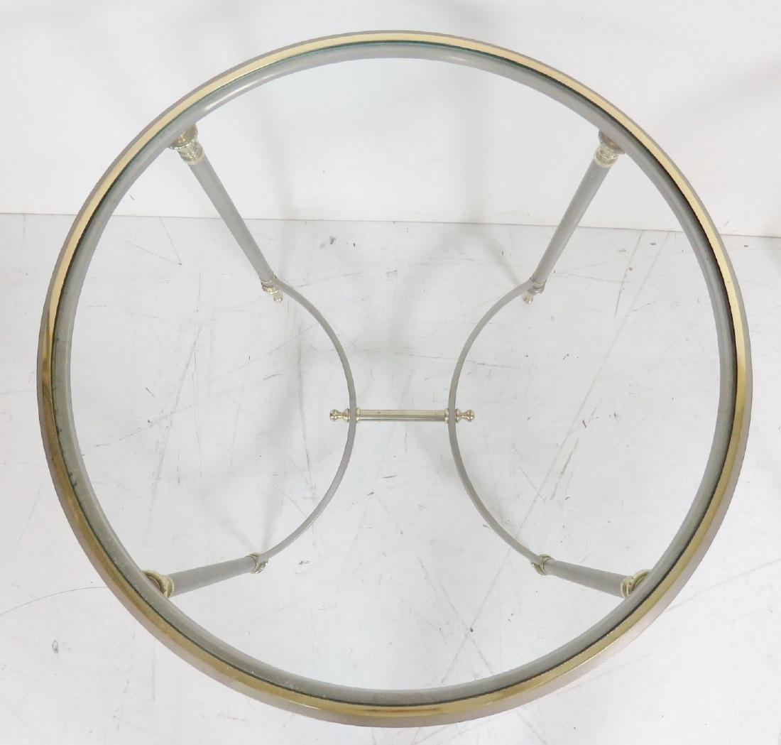 Pair JANSEN STYLE CHROME & BRASS GLASSTOP SIDE TABLES - 3