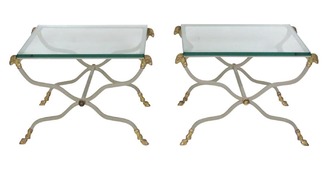 Pair DIRECTOIRE STYLE CHROME & BRASS GLASSTOP SIDE