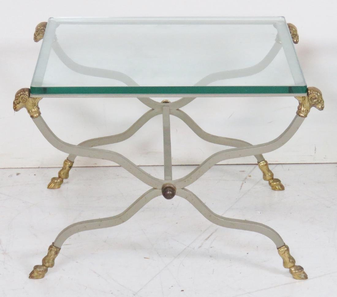 Pair DIRECTOIRE STYLE CHROME & BRASS GLASSTOP SIDE - 2
