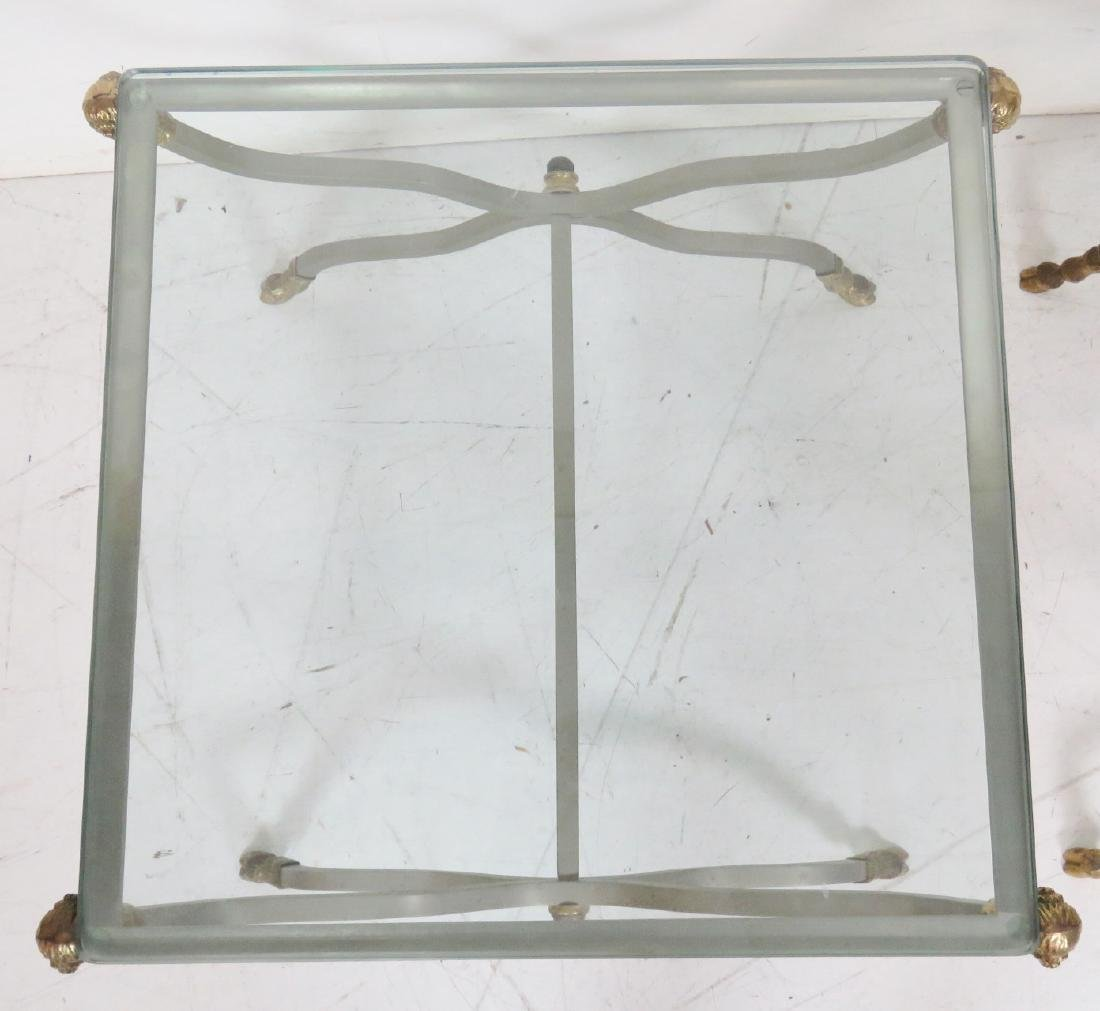 Pair DIRECTOIRE STYLE CHROME & BRASS GLASSTOP SIDE - 3