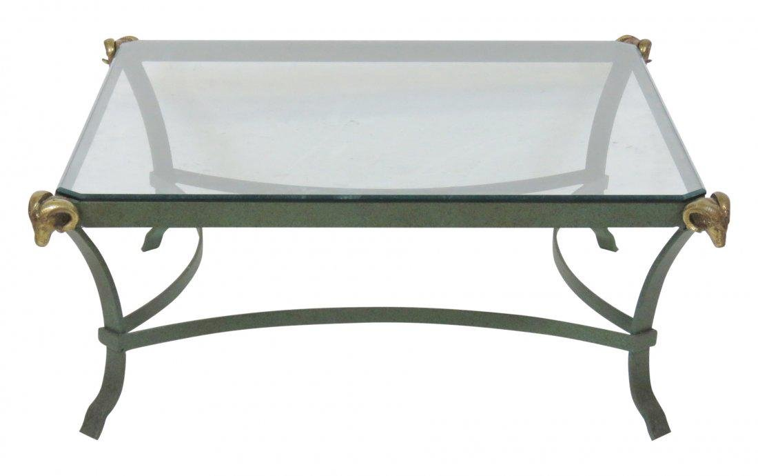 DIRECTOIRE STYLE PAINTED METAL COFFEE TABLE w/ RAMS
