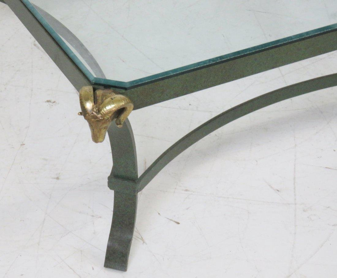 DIRECTOIRE STYLE PAINTED METAL COFFEE TABLE w/ RAMS - 2