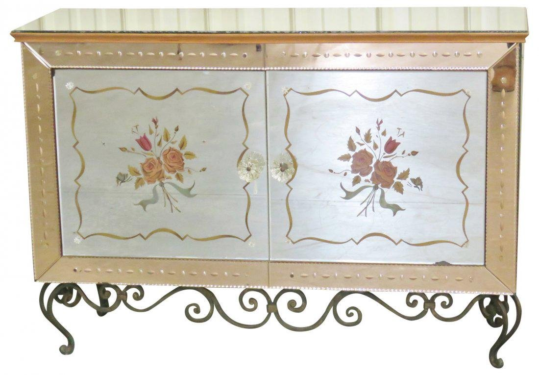 FRENCH VERRE EGLOMISE WROUGHT IRON & GLASS CABINET