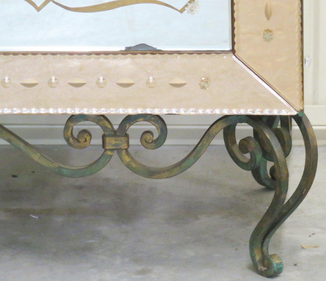 FRENCH VERRE EGLOMISE WROUGHT IRON & GLASS CABINET - 2