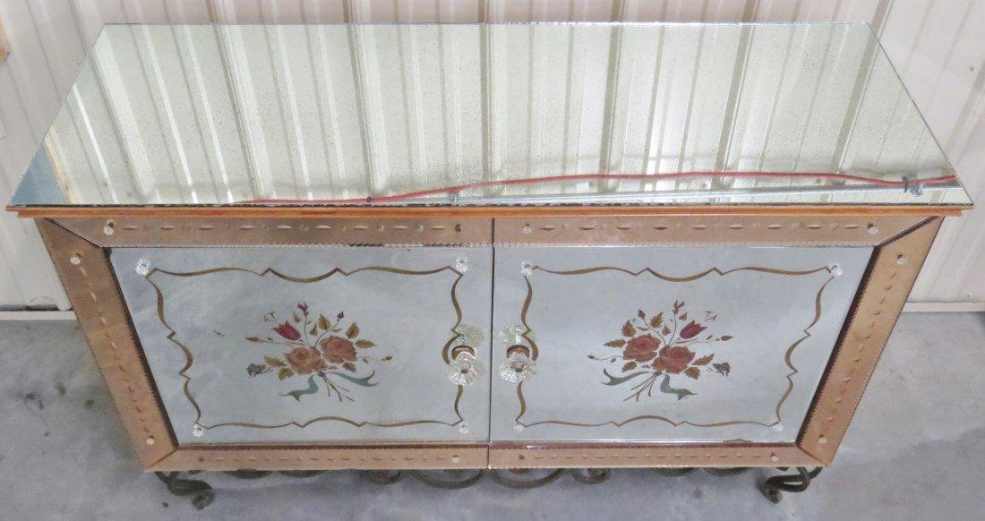 FRENCH VERRE EGLOMISE WROUGHT IRON & GLASS CABINET - 5