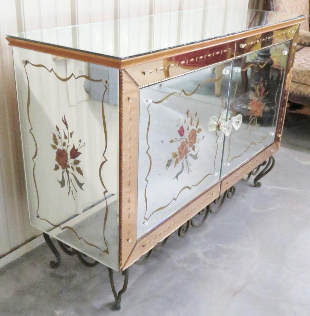 FRENCH VERRE EGLOMISE WROUGHT IRON & GLASS CABINET - 6