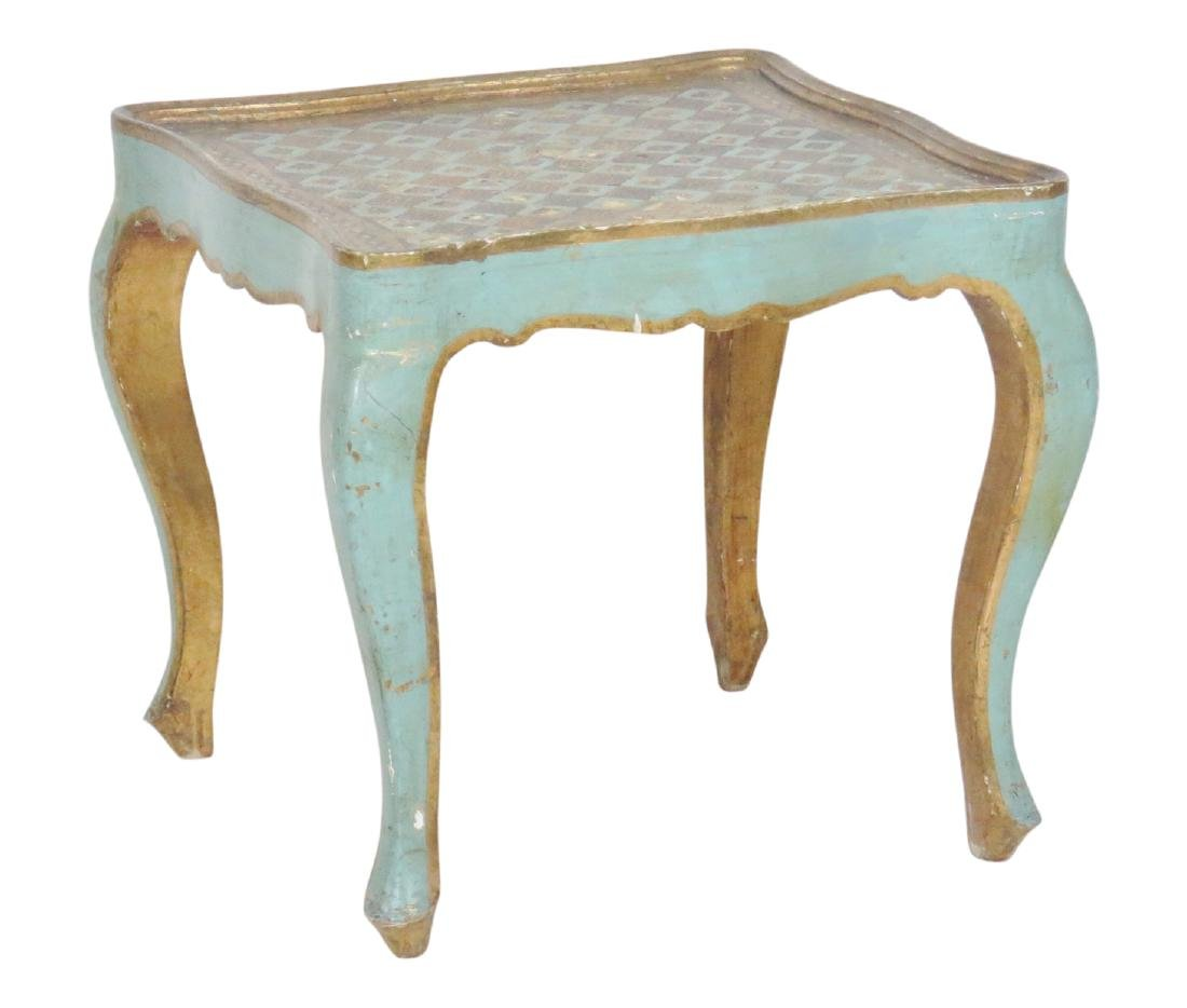 FLORENTINE STYLE PAINT DECORATED SIDE TABLE