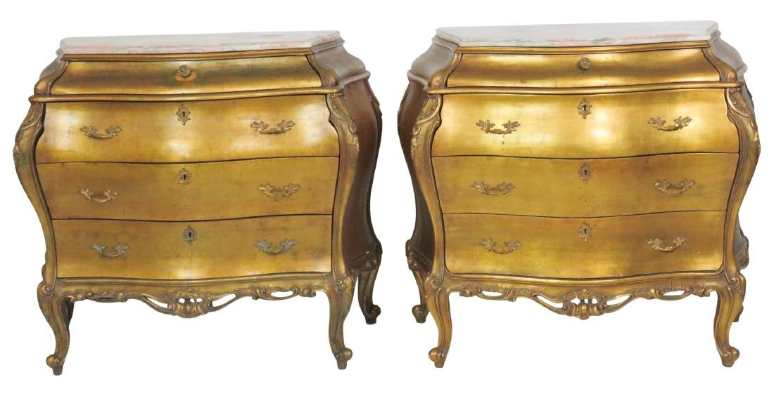 Pair LOUIS XVI STYLE GILT CARVED MARBLETOP BOMBAY