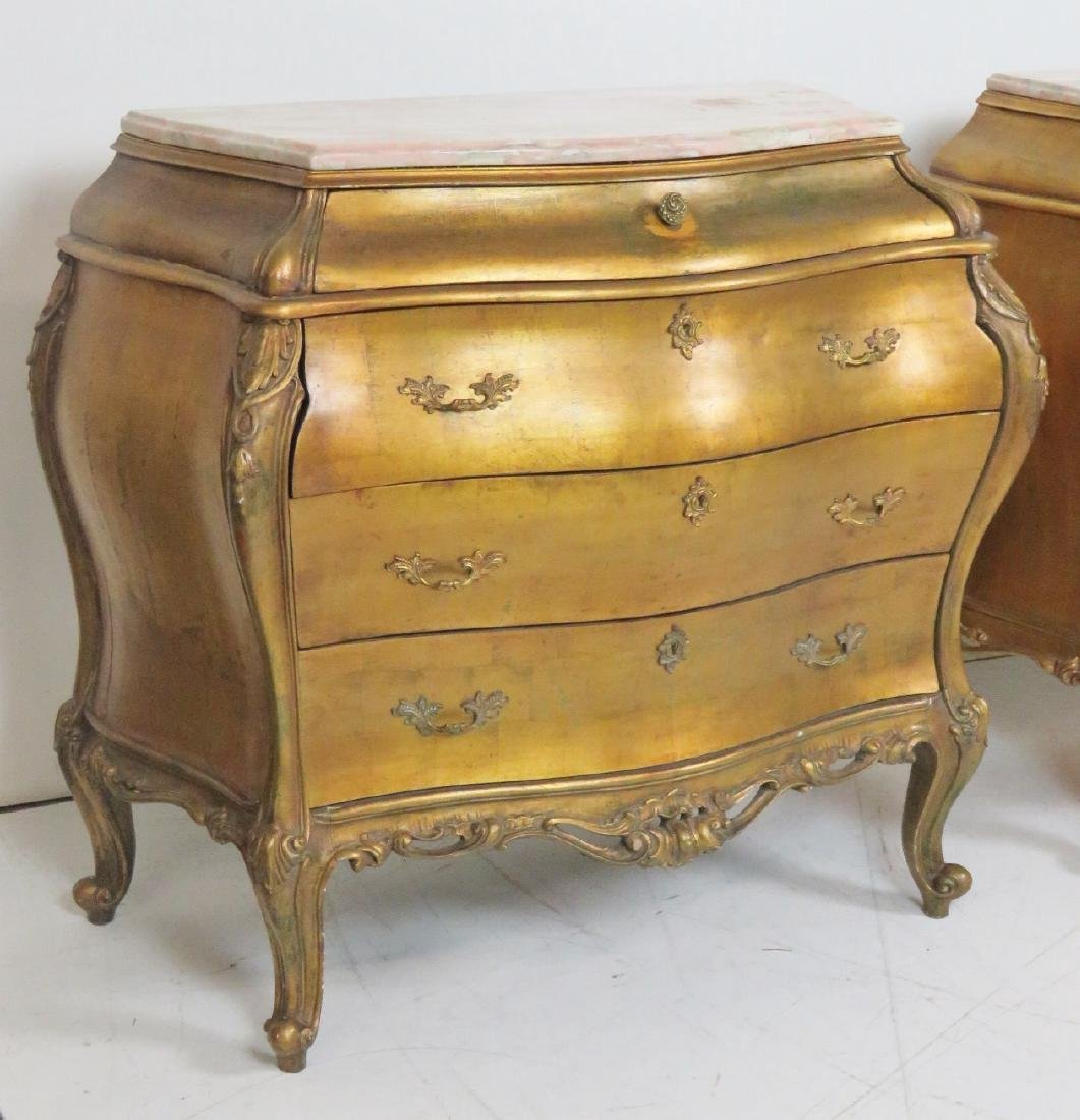 Pair LOUIS XVI STYLE GILT CARVED MARBLETOP BOMBAY - 2