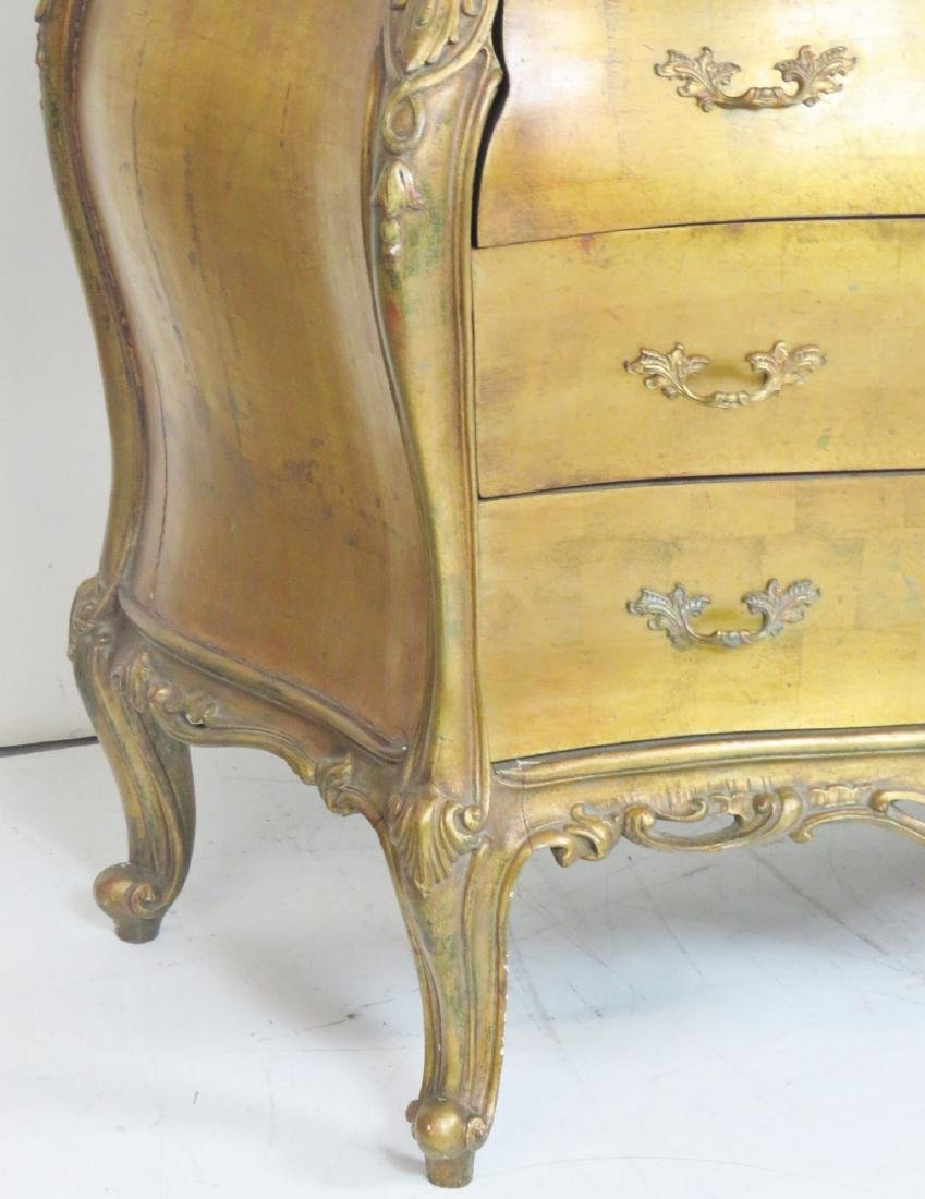 Pair LOUIS XVI STYLE GILT CARVED MARBLETOP BOMBAY - 3