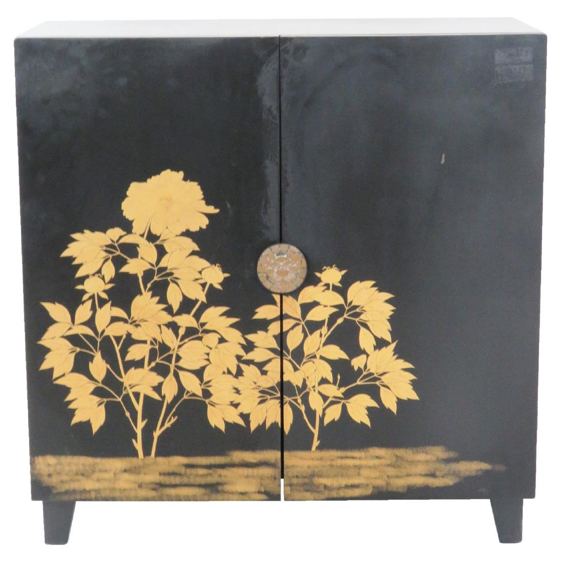 ASIAN STYLE EBONIZED & GILT DECORATED 2 DOOR CABINET
