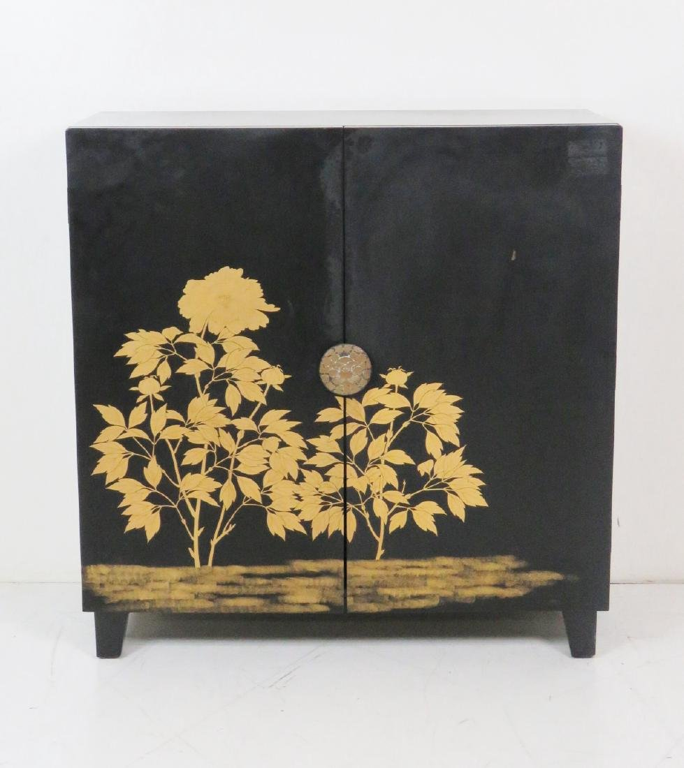 ASIAN STYLE EBONIZED & GILT DECORATED 2 DOOR CABINET - 2
