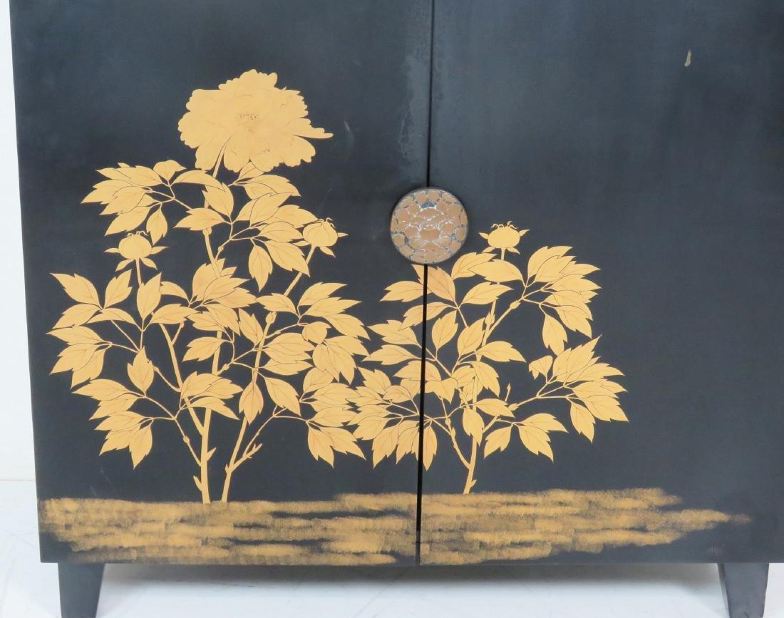 ASIAN STYLE EBONIZED & GILT DECORATED 2 DOOR CABINET - 4