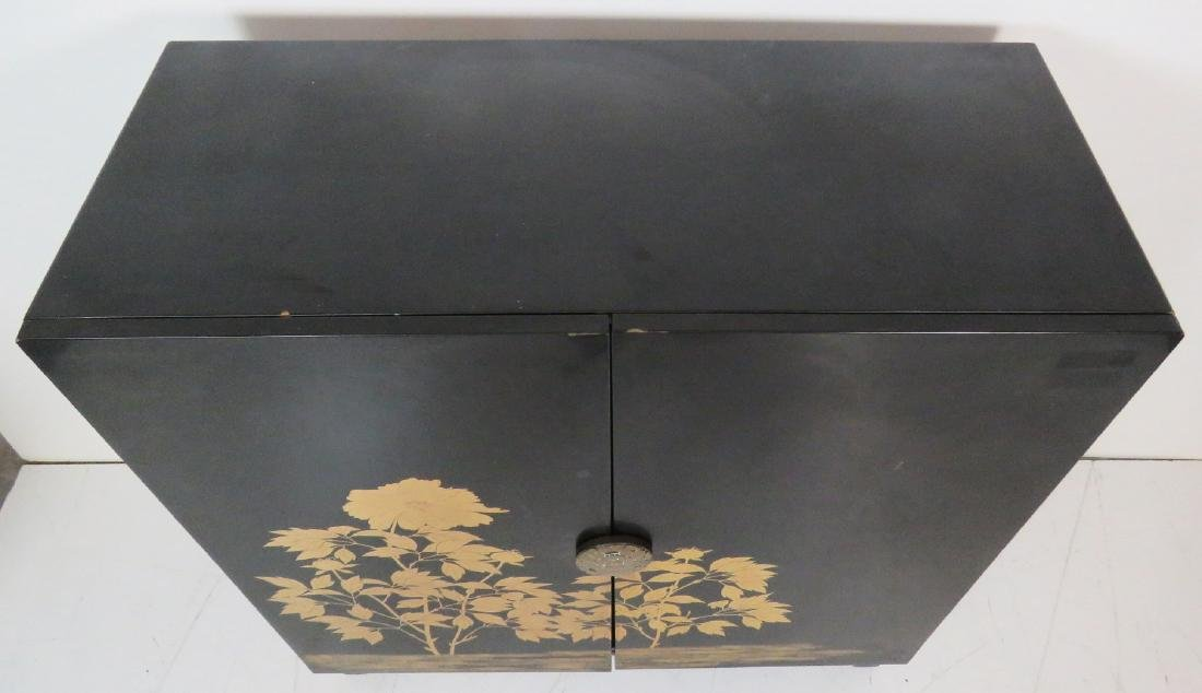 ASIAN STYLE EBONIZED & GILT DECORATED 2 DOOR CABINET - 5