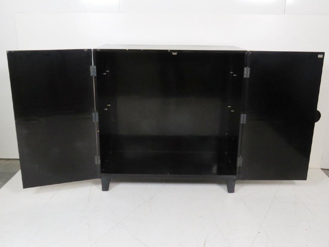ASIAN STYLE EBONIZED & GILT DECORATED 2 DOOR CABINET - 6