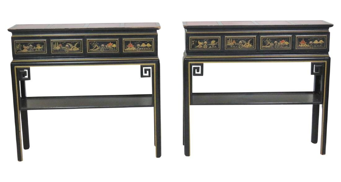 Pair CHINOISERIE DECORATED LEATHERTOP CONSOLES