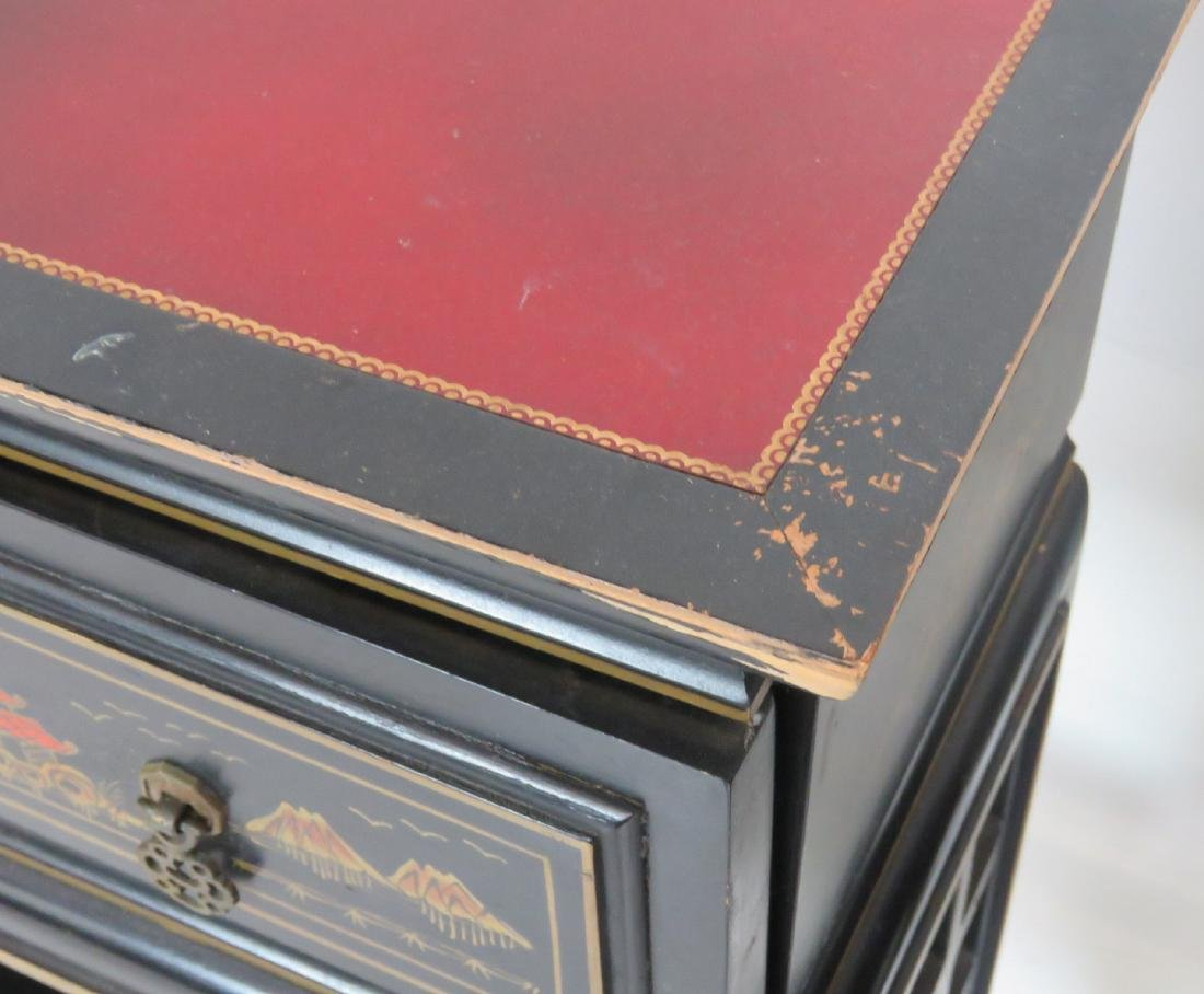 Pair CHINOISERIE DECORATED LEATHERTOP CONSOLES - 3