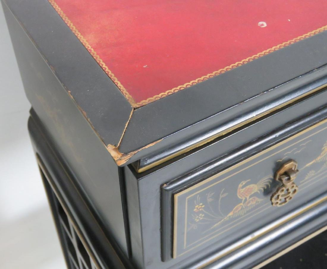 Pair CHINOISERIE DECORATED LEATHERTOP CONSOLES - 4