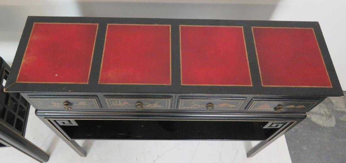 Pair CHINOISERIE DECORATED LEATHERTOP CONSOLES - 5