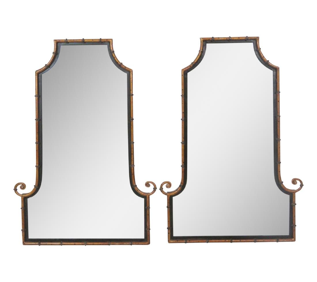 Pair FAUX BAMBOO METAL HANGING WALL MIRRORS attr.