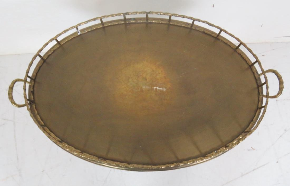 FAUX BAMBOO BRASS TRAY TOP TABLE - 2