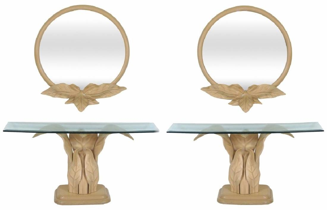 Pair CONTEMPORARY LEAF FORM CONSOLES & MIRRORS