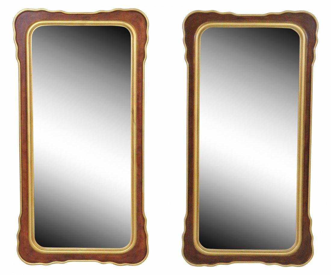 "Pair CONTEMPORARY 53"" X 28"" GILT MIRRORS"