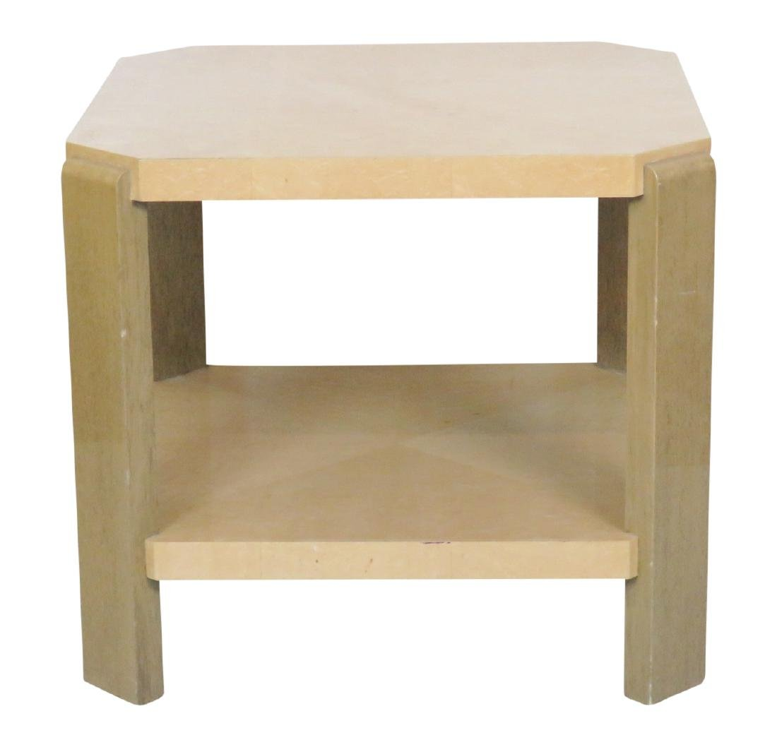 FAUX OSTRCH LACQUERED SIDE TABLE