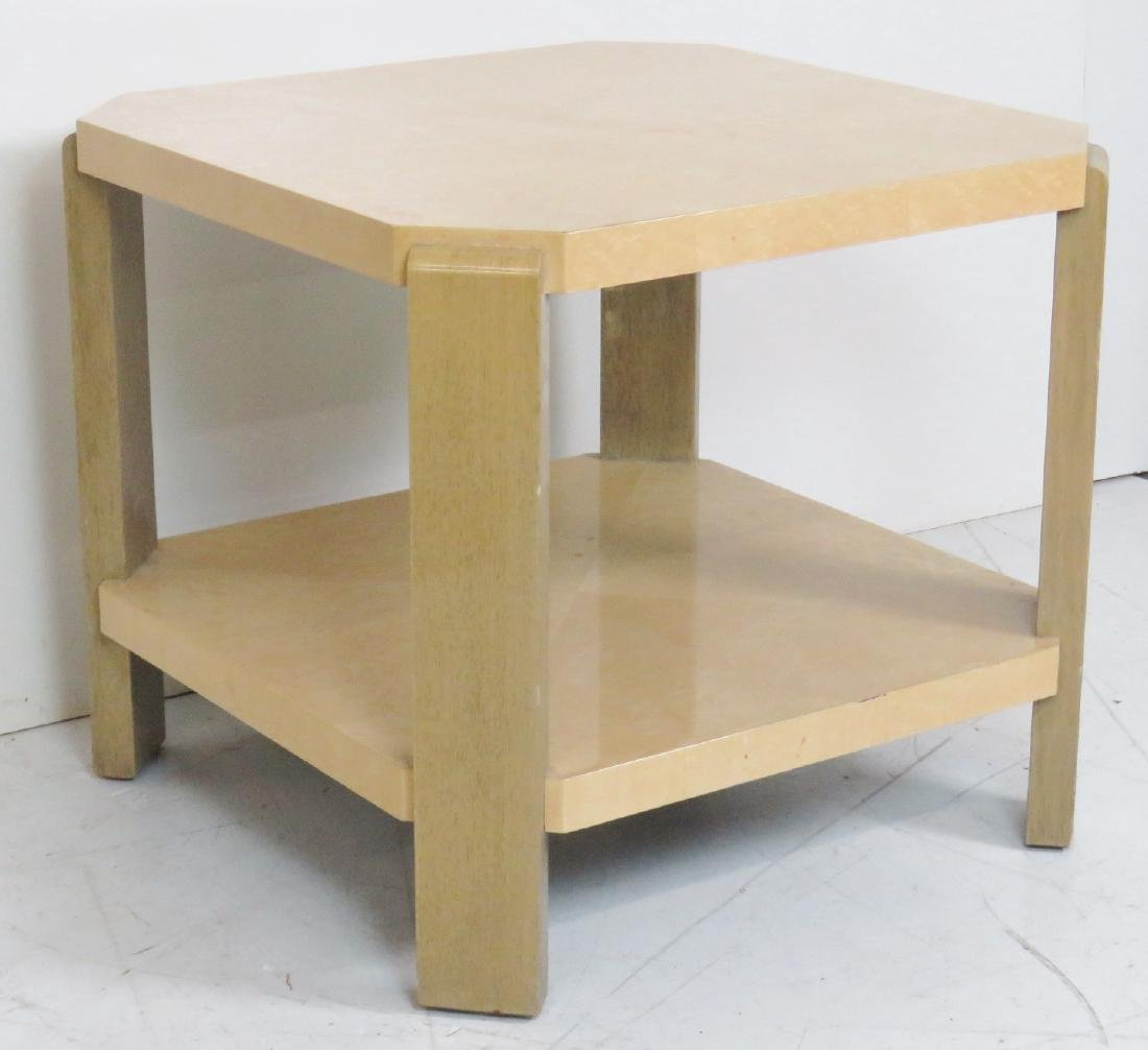 FAUX OSTRCH LACQUERED SIDE TABLE - 2