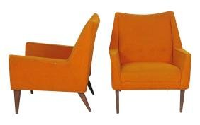 Pair  FINN JUHL STYLE UPHOLSTERED LOUNGE CHAIRS