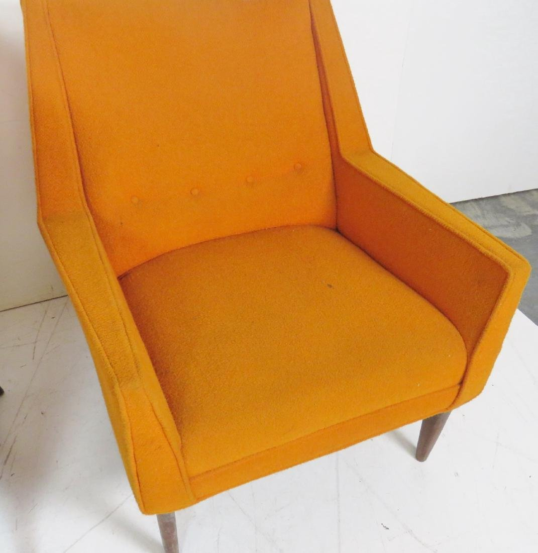 Pair FINN JUHL STYLE UPHOLSTERED LOUNGE CHAIRS - 3