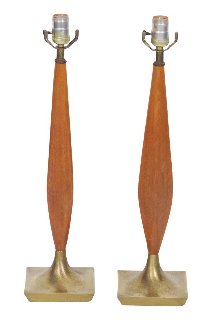 Pair TEAK & BRASS TABLE LAMPS