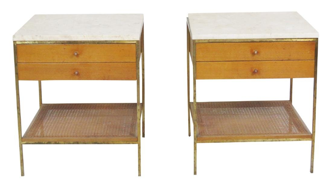 Pair PAUL MCCOBB CANED MARBLETOP SIDE TABLES
