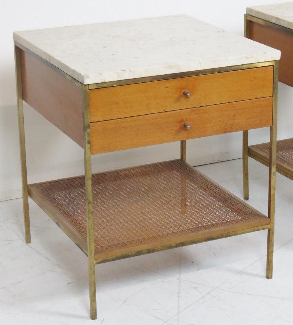 Pair PAUL MCCOBB CANED MARBLETOP SIDE TABLES - 2